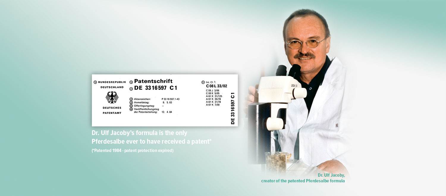 Dr. Ulf Jacoby's formula is the only Pferdesalbe ever to have received a patent